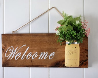 Rustic Home Decor, Welcome Sign, Summer/Spring Decor