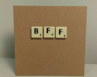 BFF scrabble art card // Best friends forever // Handmade // Recycled materials // Greeting card // Birthday card