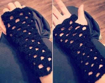 Crocheted Fingerless Gloves with Scalloped edge.