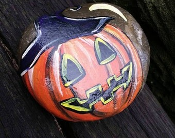 hand painted halloween pumpkin rock, painted stone, witch, halloween decor, home decor