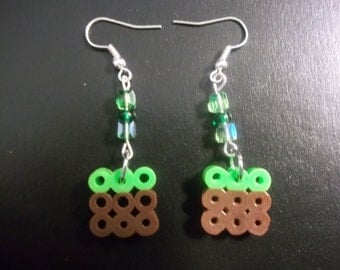 Minecraft Grass Block Earrings With Beads