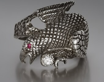 Sterling Silver Phoenix Ring with Diamond & Ruby