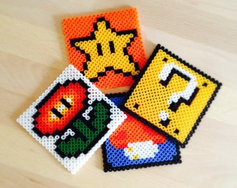 Super Mario Bros Coasters Perler Nintendo