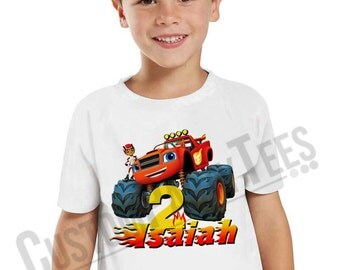 Personalized Blaze and the Monster Machines Birthday Shirt Customized birthday party shirt Gift Favors 01