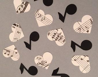 200 Music Confetti Heart Confetti Birthday Confetti Vintage Heart Confetti Black Confetti Muisc Note Confetti Confetti Music Party
