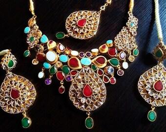 Vintage Royal Stone Tikka, Earrings & Necklace Jewelry Set