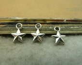 BULK 50 Star Charms Antique Silver Tone Two Sided Small Size (YT5082)
