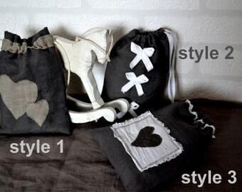 Grey linen gift bag, set of 3, linen bag, favor bag, gift bag, wedding bag, christmas linen gift bags