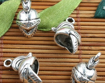 Tibetan Silver color soldier helmet style charms 20pcs EF0096