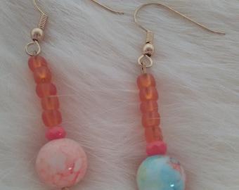 Orange drop marble earrings