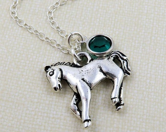 Silver Horse Necklace, Horse Lover Gift, Horse Charm Necklace, Personalized Horse, Equestrian Necklace, Horse Riding Necklace