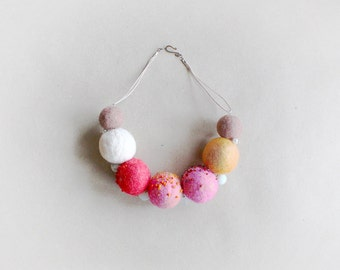 Felted Necklace, Beads made of Felt, Felted Beads, Pink White Necklace, Felt Wool Ball Necklace, Mother's Day Gift