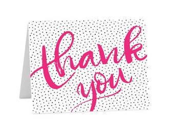 Thank You Cards / Folded Note Cards / Pink / Dots / Stationary  (TY-002)