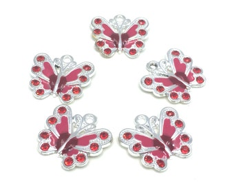 Red Butterfly Pendants Beads
