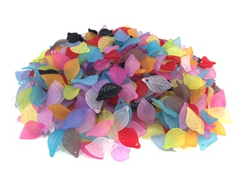 Acrylic Frosted Leaf Drops/Beads - Mix Color - 18x10.7 mm
