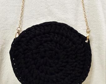 Cotton handbag, crochet handmade with Tshirt yarn, black handbag.