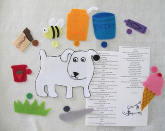 Dog's Colorful Day felt story set/teaching resource/ Flannel Board / Preschool