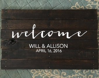 Wedding Welcome Sign, Rustic Wedding Welcome Sign, custom wedding sign, custom wedding decor