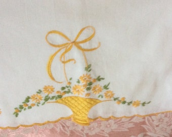 Vintage embroidered pillowcase pair, very good condition