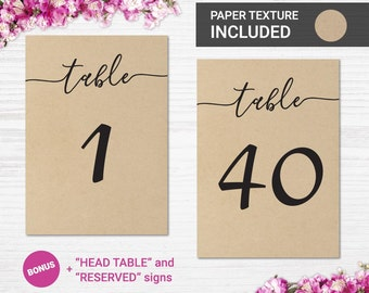 Printable Table Numbers 1-40 / 5x7 and 4x6 on kraft paper background, Table Numbers Wedding, Instant Download, Kraft Wedding Rustic wedding