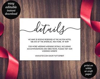 Wedding Details Printable Card, Customizable Wedding Details, DIY Wedding, Simple Wedding Card, Rustic Wedding, Editable PDF Template
