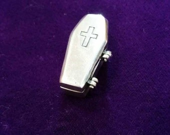 Silver opening coffin casket pendant handmade chunky