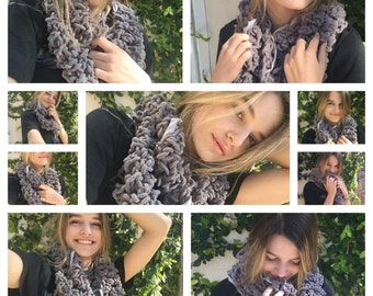Urban Crochet Knit Infinity Scarf in Pewter with Super Subtle Sparkle Item #560