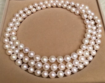 52-inch  10.0-11.0mm white freshwater pearl necklace