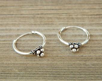2x14 mm Sterling Silver Hoop Earrings - Silver Hoop Earrings,Tiny Hoop Earrings - Hoop Earrings - Small Hoop Earring - Silver Hoop Tiny,056H