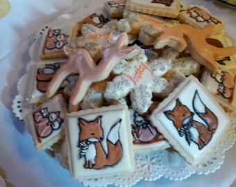 Winter Woodland Critter Baby Shower Cookies