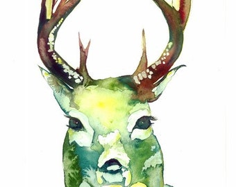 deer Original painting,green deer Original art,deer Original Watercolor Painting,Original animal Painting,deer wall art,deer portrait