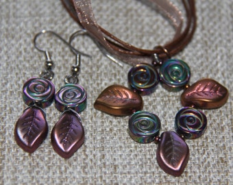 Rainbow Hematite Rose and Czech glass curvy leaf pendant with earrings