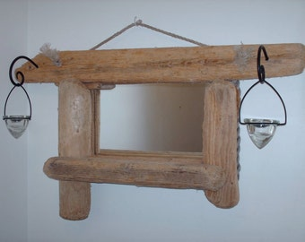 sold.Driftwood Mirror With Tea Light Holders