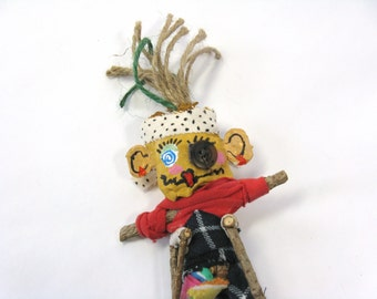 Voodoo Doll with Crutches, Accident Prone Gag Gift, Get Well Gift, Custom Doll, Primitive Doll, Outsider Art, Mixed Media Poppet, Pin Doll