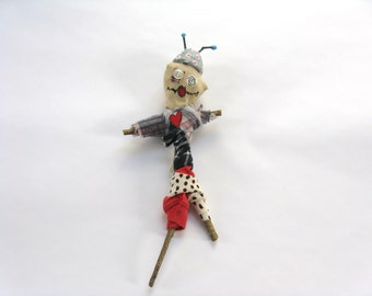 Space Alien, Voodoo Doll, Outer Space Doll, Space Theme, Alien Theme, Time Traveler, Mardi Gras, Handmade Poppet, Novelty Gift, Twig Doll
