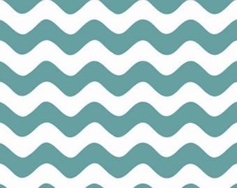 Riley Blake  Wave Cotton  Fabric  in Teal and White