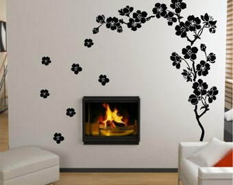 Blossom Branch With 7 Floating Flowers Vinyl Wall Art Decal