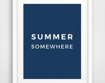 Summer Navy Blue Wall Print, Summer Art, Summer Poster, Summer Wall Print, Dark Blue Wall Decor, Blue Art, Blue Wall Print, Summer Wall Art