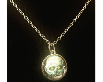 Zombie virus pendant, zombie necklace, zombie pendant, zombies, zombie, zombie jewelry, Halloween, Halloween jewelry, Halloween necklace