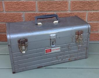 Sears Craftsman tool box, metal tool box, vintage tool box, industrial decor, metal box, vintage tool box