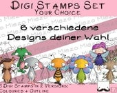 Digital stamps, Digi stamps in the set, 6 designs of your choice per 2 versions: Outlines, in color