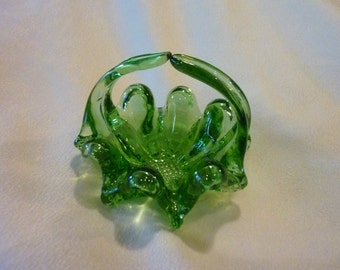 Vintage Glass Basket - Emerald Green Glass Jewelry Dish - Perfect Holder for Anything or Simply Lovely By Itself - Would Be ideal for Mints