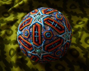 "Temari Ball ""Don Peyote"" Handmade Embroidery Crafts Psychedelic Art Home Decor"