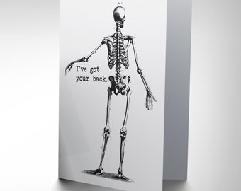 New  Friendship Skeleton Bones Funny Art Greetings Greeting Card CP1712