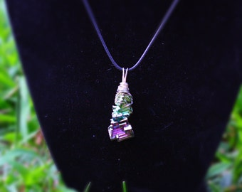 Bismuth Wrapped In Sterling Plated Wire on an 18in Black Corron Cord