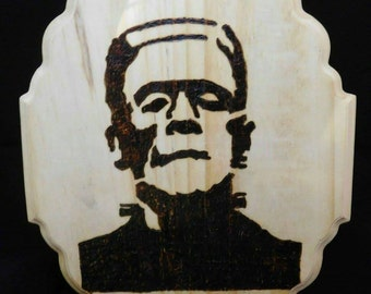 Frankenstein's monster pyrography plaque