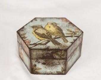 Rustic Bird Pattern Decoupaged Wooden Box