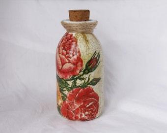 Decoupaged Ceramic Rose Bottle