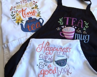 Tea-Theme Embroidered Aprons