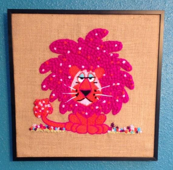 Framed finished pink lion animal crewel creatures vintage